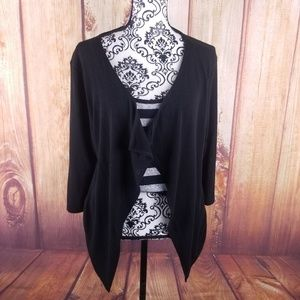 Investments Black & Silver Striped Twinset